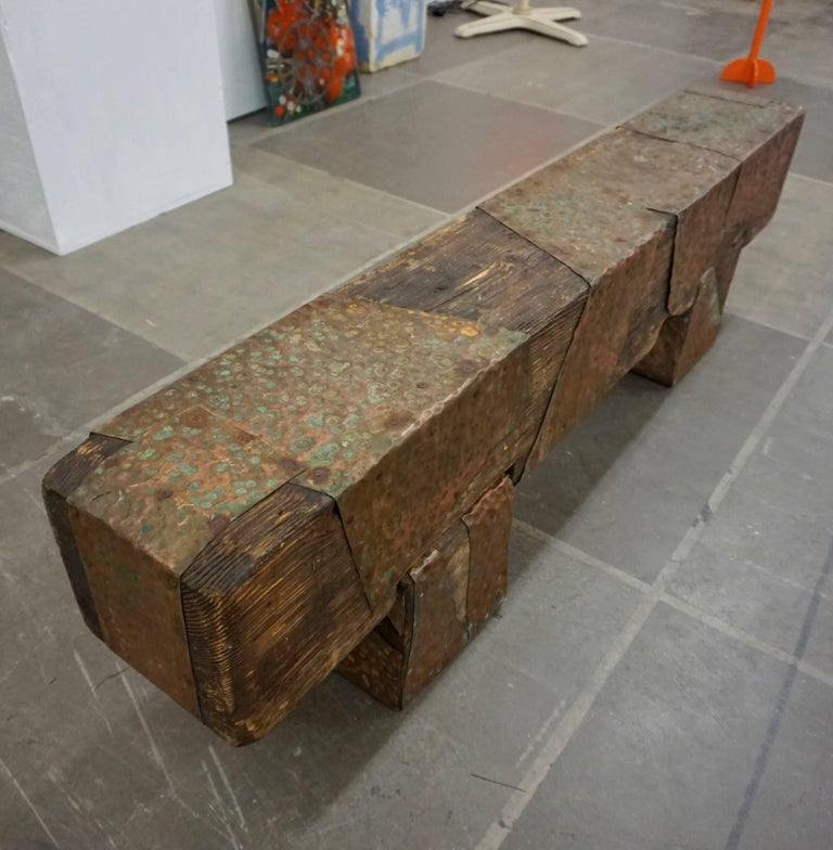 Pair of Brutalist Wood Benches 5