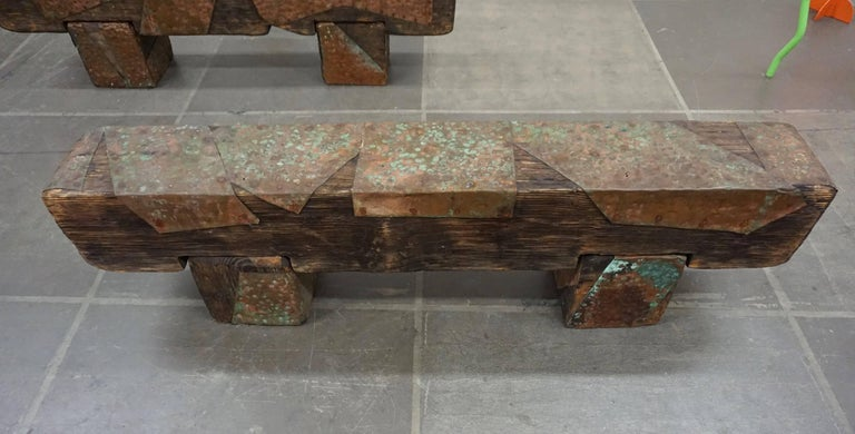 Pair of Brutalist Wood Benches 8
