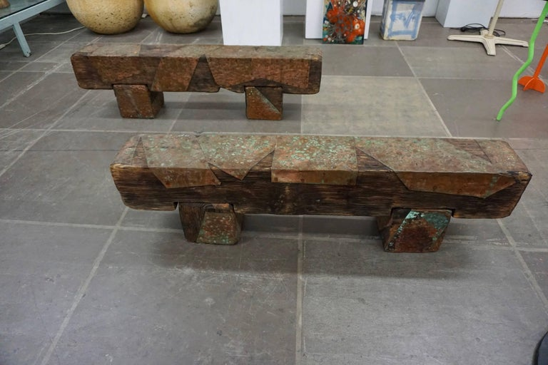 Pair of Brutalist Wood Benches 10
