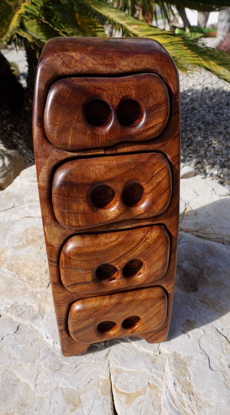 """Crafted from Claro walnut with felt lined drawers. Signed on the bottom """"Made in the USA by ZanCraft."""