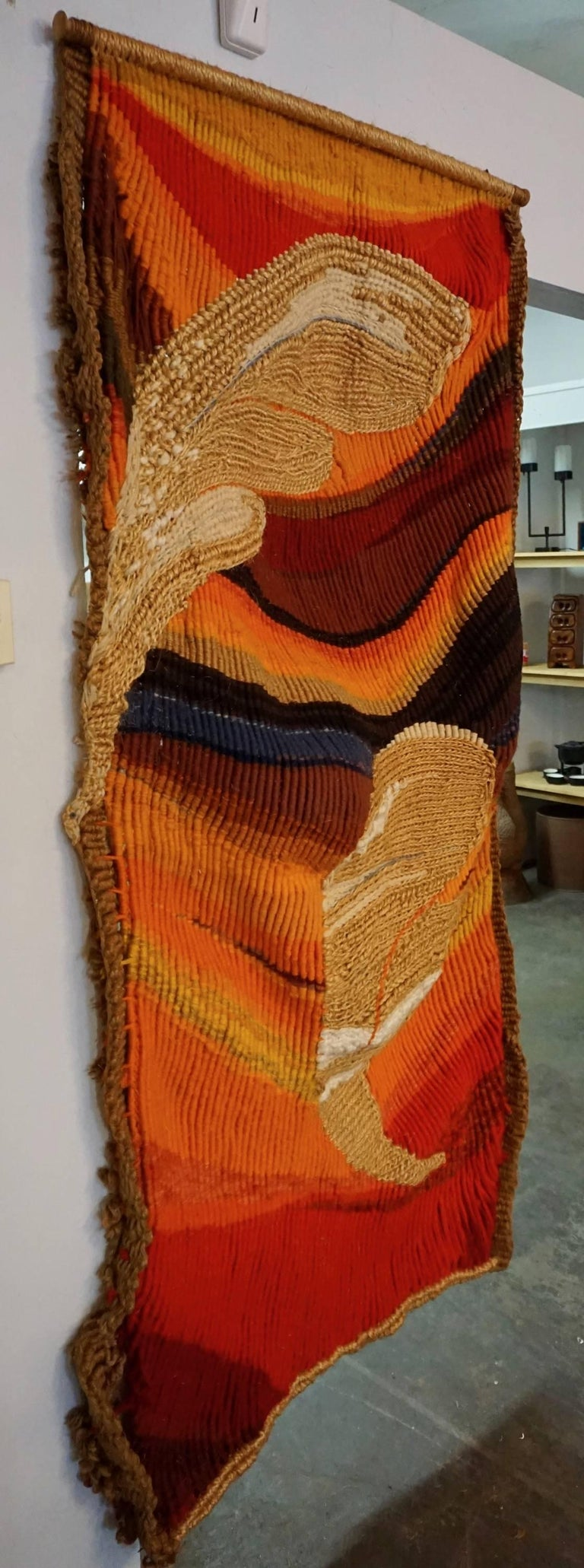 Colorful Handwoven, 1960s Tapestry 3