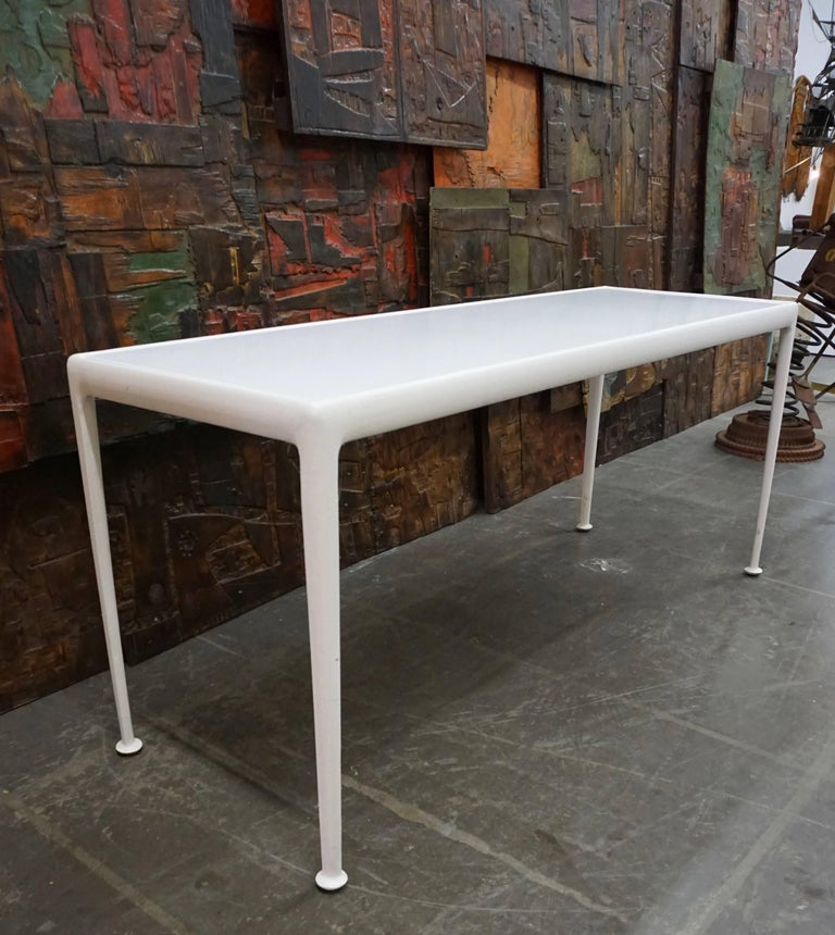 Vintage Richard Schultz cocktail table with enameled steel top and powder coated aluminum frame. Chaise lounges, various tables and lounge chairs also available.