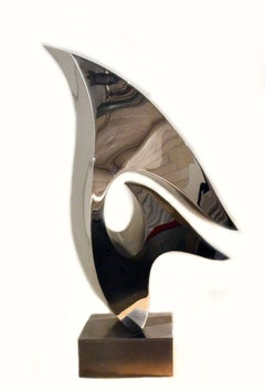 Abstract Stainless Steel Sculpture by Artist Russell Jacques