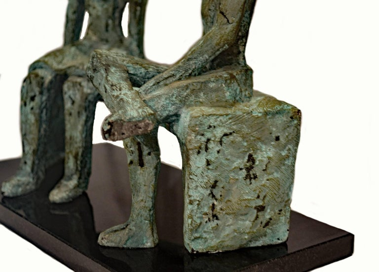 American After Henry Moore, a Vintage Bronze Sculpture of Two Figures Seated on a Bench For Sale