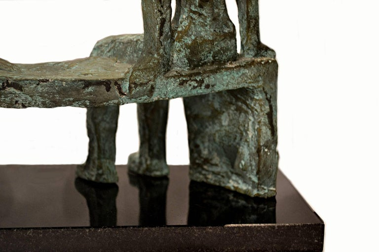 Hand-Carved After Henry Moore, a Vintage Bronze Sculpture of Two Figures Seated on a Bench For Sale