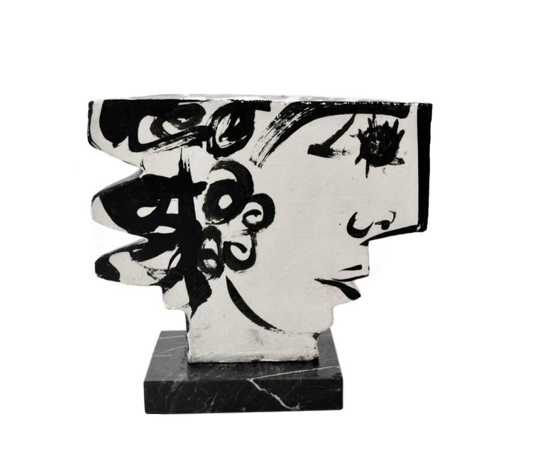 Abstract Sculpture by highly listed artist Barbara Mahl. Studio Pottery in the form of a double sided face/head, signed on the underside,