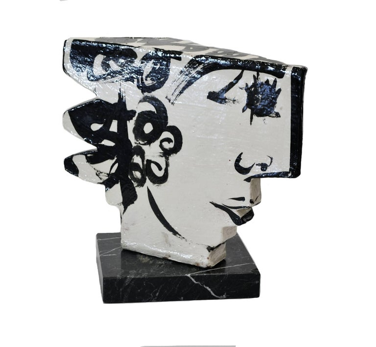 American Vintage Studio Pottery Sculpture of an Abstract Two Sided Face by Barbara Mahl For Sale