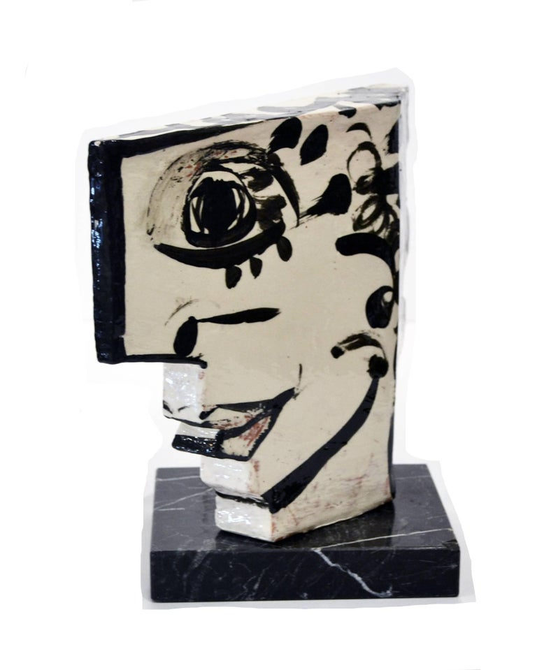 Fired Vintage Studio Pottery Sculpture of an Abstract Two Sided Face by Barbara Mahl For Sale
