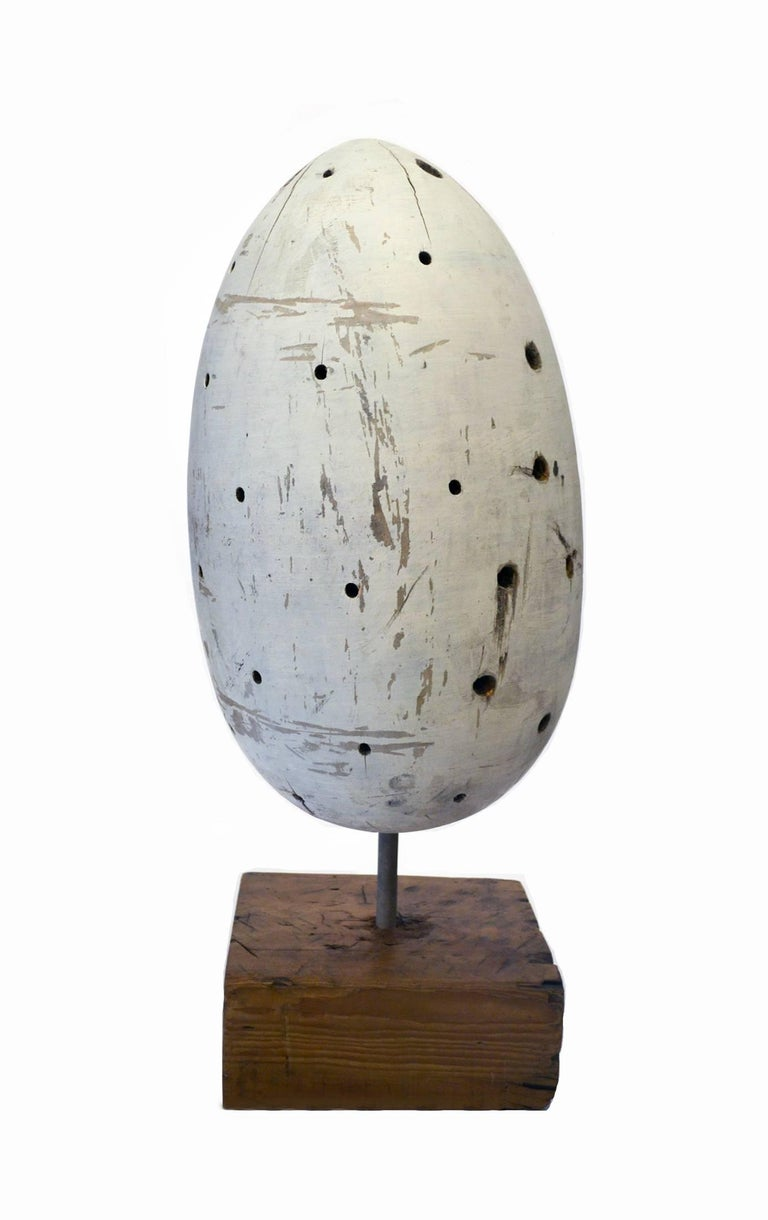 American Vintage Carved Wood Egg Sculpture, circa 1950s For Sale