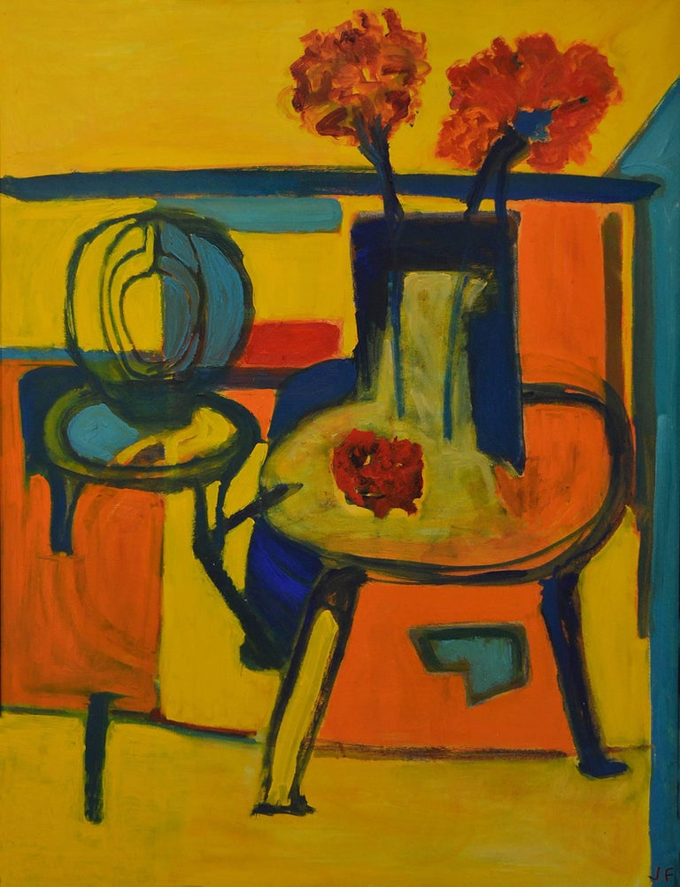 Self-taught artist JoAnne Fleming (b. 1930) is better known and highly collected for her expressionist portraits of women that are characterized by texture, an often colorful palette and compositions that reflect this artist's passion for