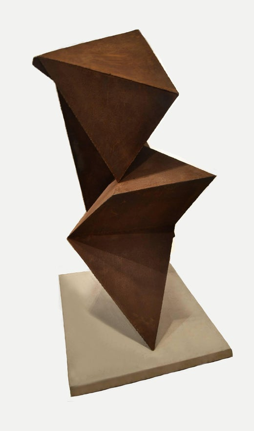 Abstract Steel Vertical Origami Sculpture By Artist Scott Donadio At