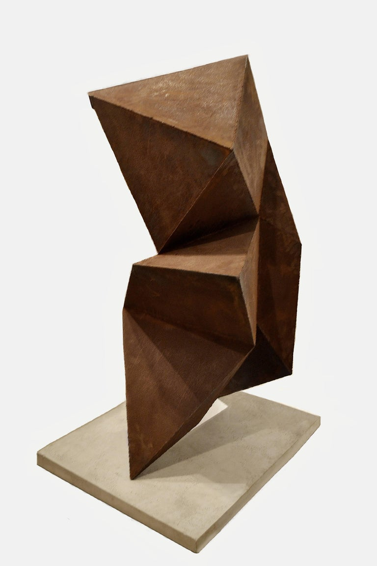 American Abstract Steel Vertical Origami Sculpture by Artist Scott Donadio For Sale