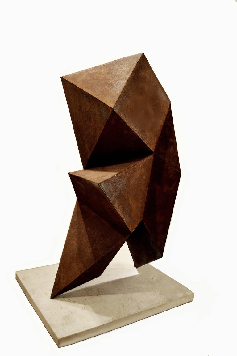 Cast Abstract Steel Vertical Origami Sculpture by Artist Scott Donadio For Sale