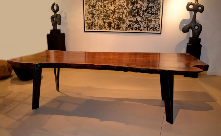 20th Century Claro Walnut Slab Dining Table with Steel Legs by Artist Charles Green For Sale