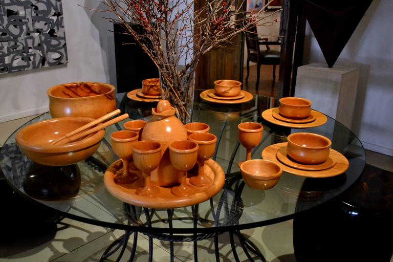 Vintage 46 Pieces Italian Sycamore Tableware by Pietro Manzoni for Vietri 2