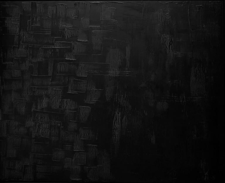 This large abstract mixed painting aptly titled Beneath The Depths is by California artist Peri Gutierrez. The focus is on the crisp light peering through from the various veils of black, charcoal and burnished brown. Finding the right lighting