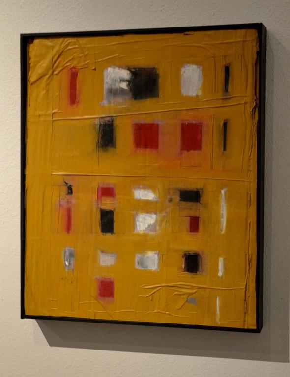 This abstract painting titled pampasby artist John Luckett (b. 1951) reflects the artist's creative uses of organic materials and his passion for design and his quest to understand the origins of formation. The boldness of the gold, ochre