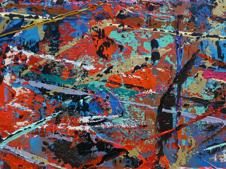 Colorful and Heavily Layered Abstract Painting by Artist Aaron Finkbiner 2