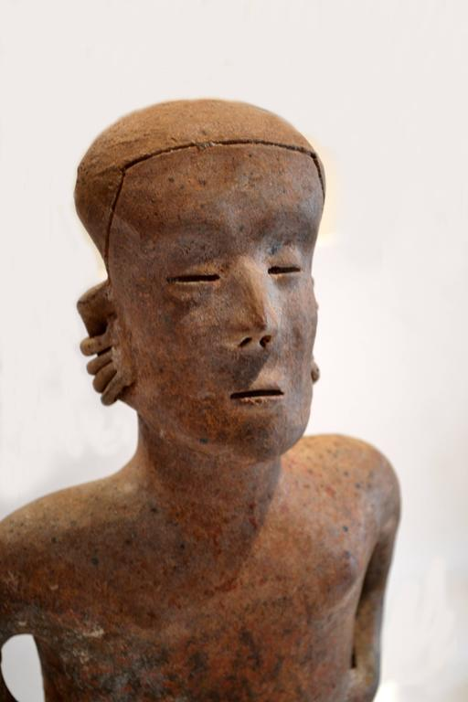 Large Pre-Columbian Nayarit Seated Male Figure Sculpture 3