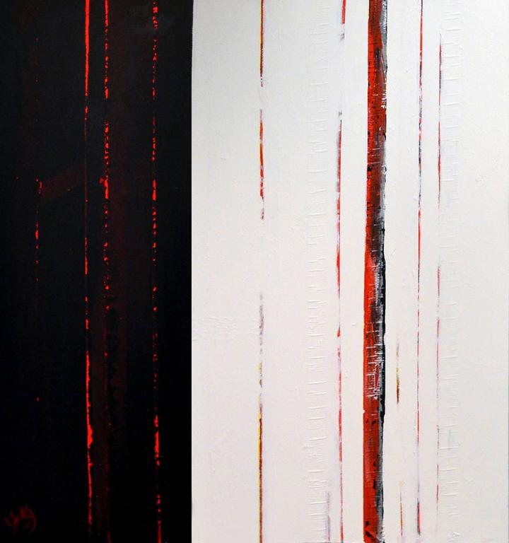 American Sean Young Abstract Minimalist Mixed Media Diptych  For Sale