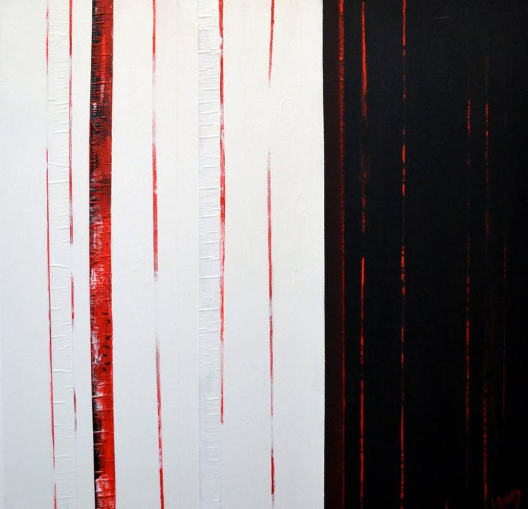 Painted Sean Young Abstract Minimalist Mixed Media Diptych  For Sale