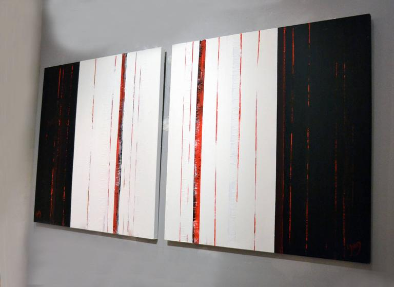 Sean Young Abstract Minimalist Mixed Media Diptych  In Excellent Condition For Sale In Cathedral City, CA