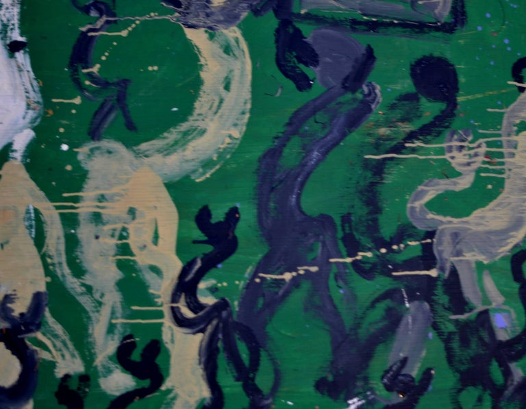 Large Abstract Painting of Horses on Kelly Green by Purvis Young 3