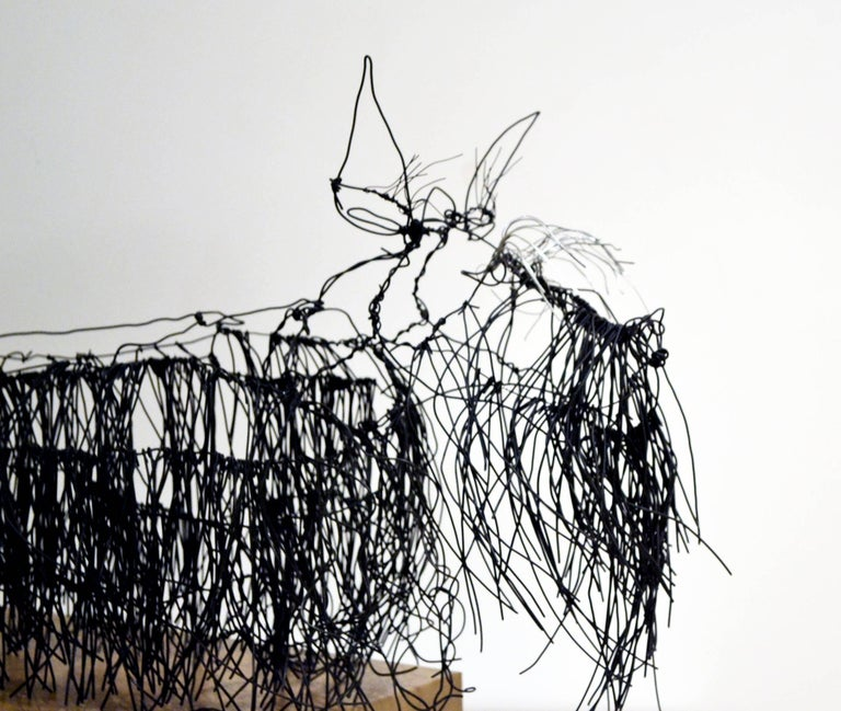 American Wire Schnauzer Dog Sculpture by Artist Michael L. Jacques For Sale