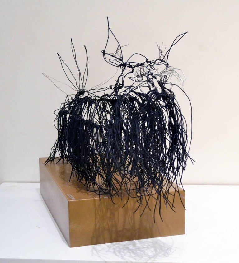 Hand-Crafted Wire Schnauzer Dog Sculpture by Artist Michael L. Jacques For Sale