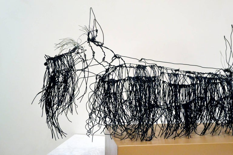 Wire Schnauzer Dog Sculpture by Artist Michael L. Jacques In Excellent Condition For Sale In Cathedral City, CA