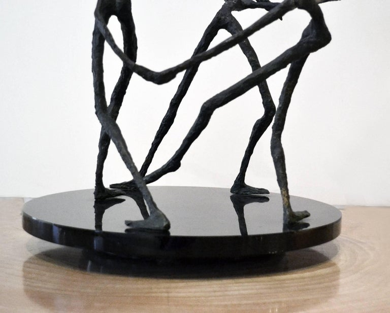 Italian Vintage Bronze Abstract Sculpture of Female Dancers, After Alberto Giacometti For Sale