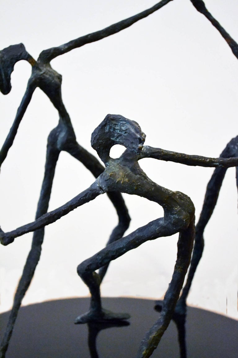 Vintage Bronze Abstract Sculpture of Female Dancers, After Alberto Giacometti In Excellent Condition For Sale In Cathedral City, CA