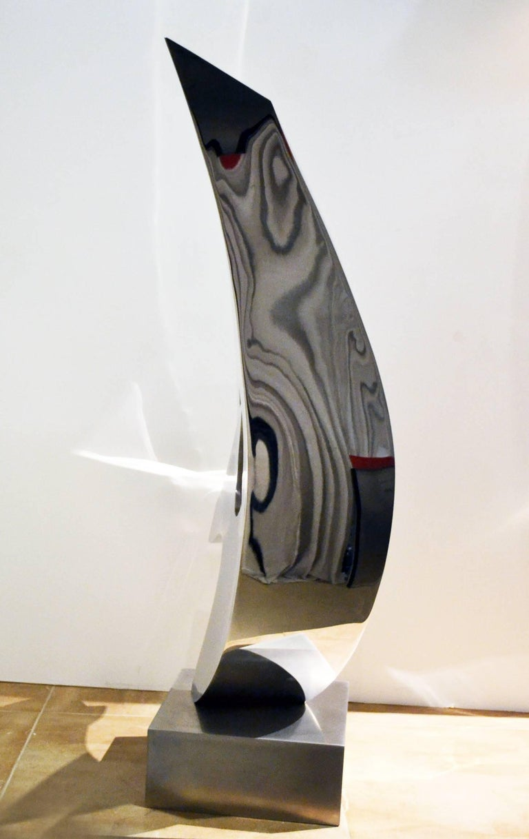 Abstract Stainless Steel Sculpture by Artist Russell Jacques In Excellent Condition For Sale In Cathedral City, CA