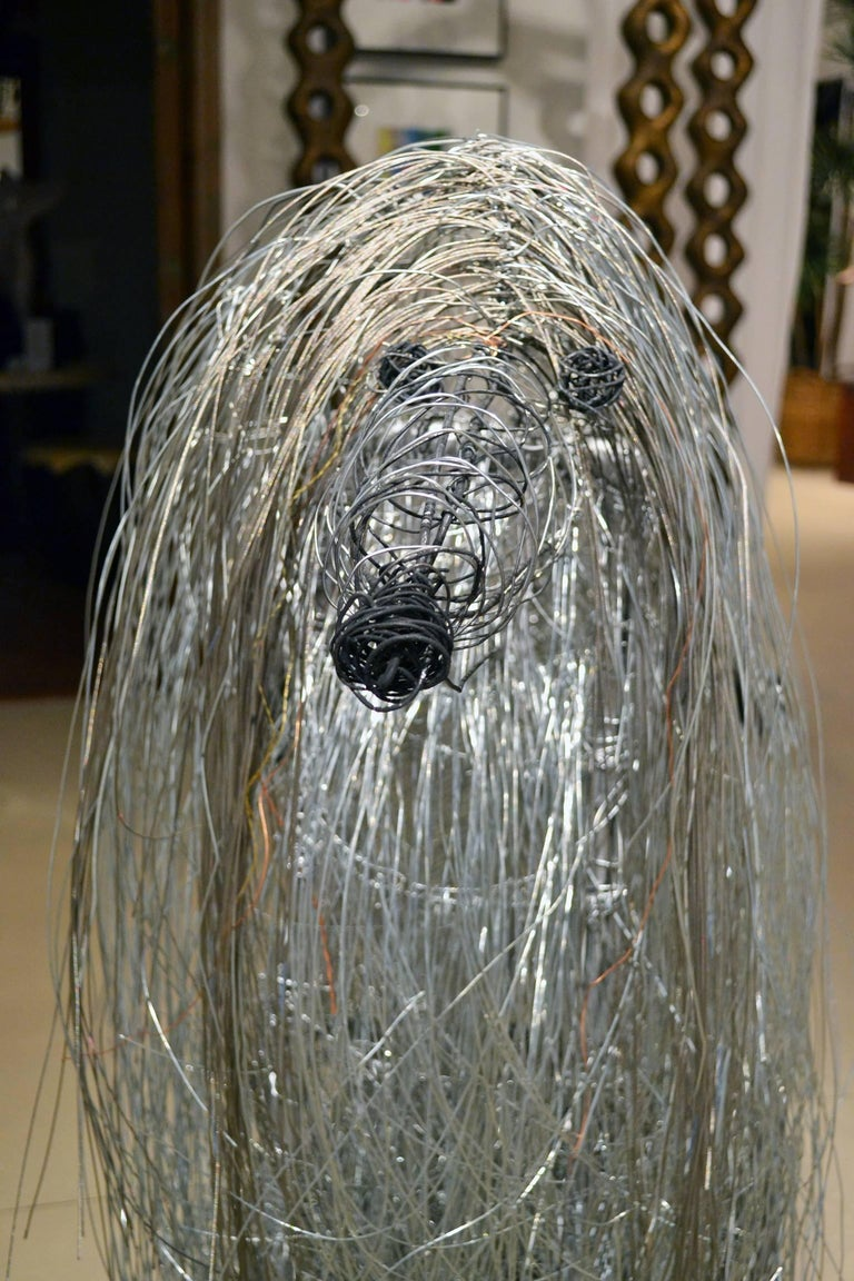 American Large Wire Sculpture of an Afgan Hound by Artist Michael L. Jacques For Sale