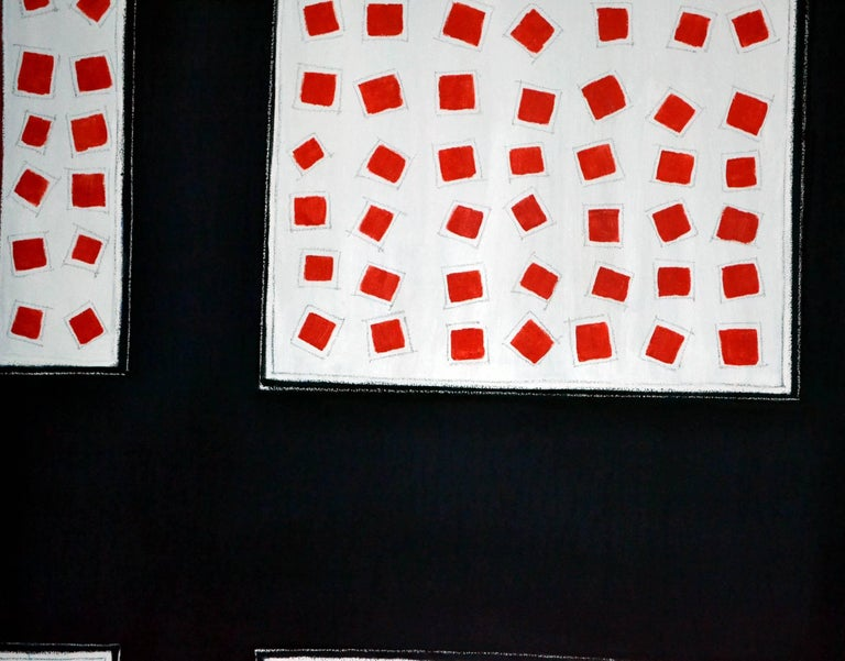 American Abstract Painting Titled Fields of Red Squares by Artist Tina Bluefield For Sale