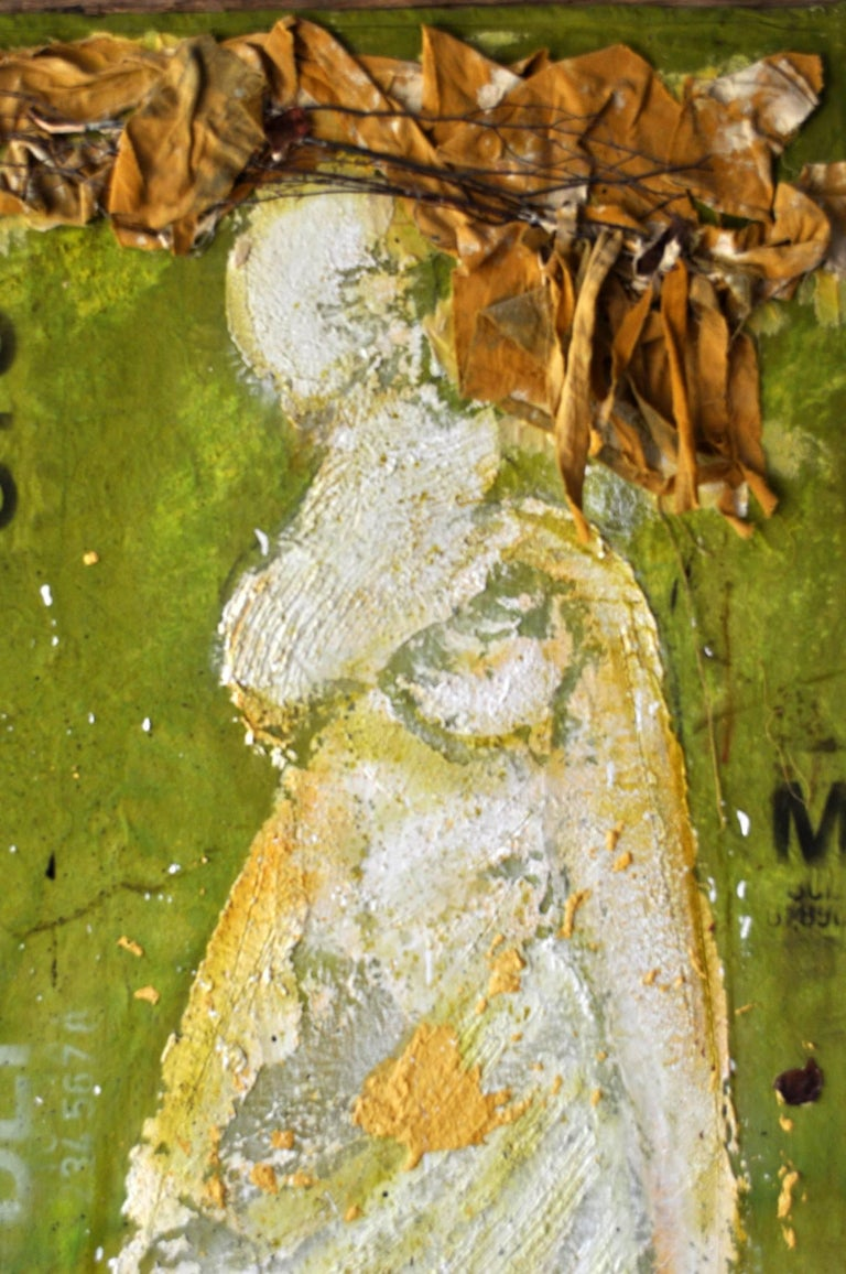 American Expressionist Portrait of Lady on Green by Vladimir Prodanovich For Sale