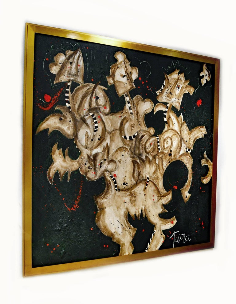 Expressionist Abstract Painting Titled Harlequins by Artist Taira 2