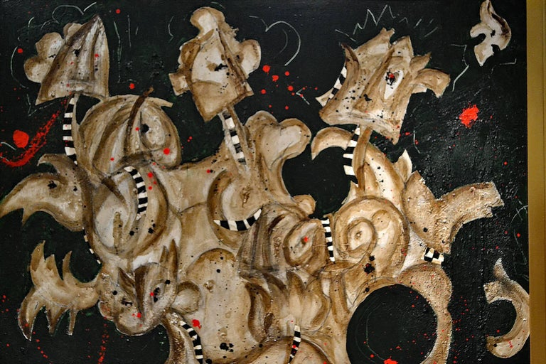 Expressionist Abstract Painting Titled Harlequins by Artist Taira 3