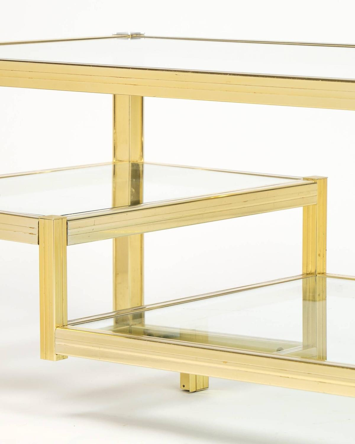 French Mid-Century Three-Tier Brass Glass Top Coffee Table
