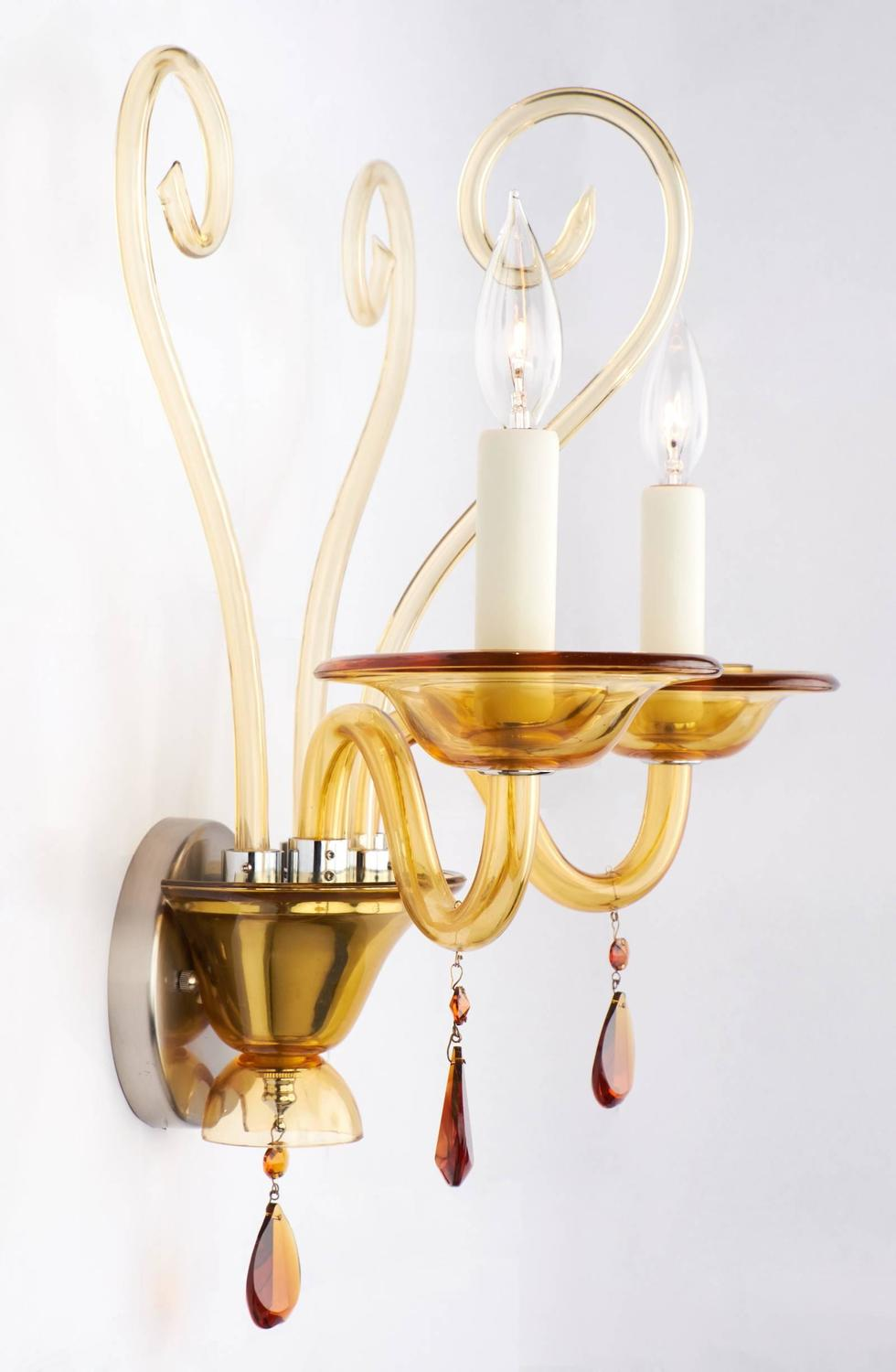 Amber Wall Sconces Glass : Murano Amber Glass Wall Sconce For Sale at 1stdibs