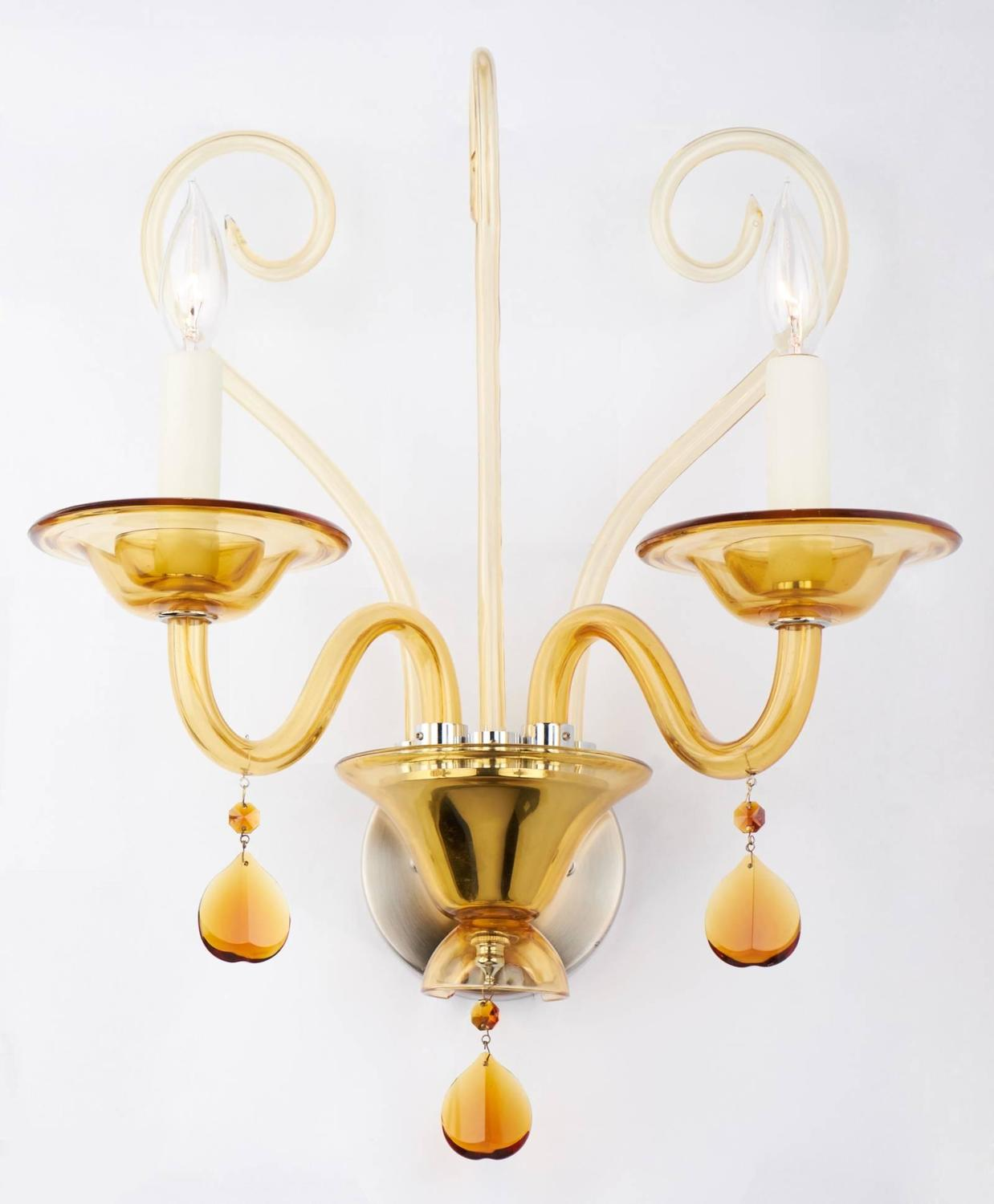 Murano Amber Glass Wall Sconce For Sale at 1stdibs