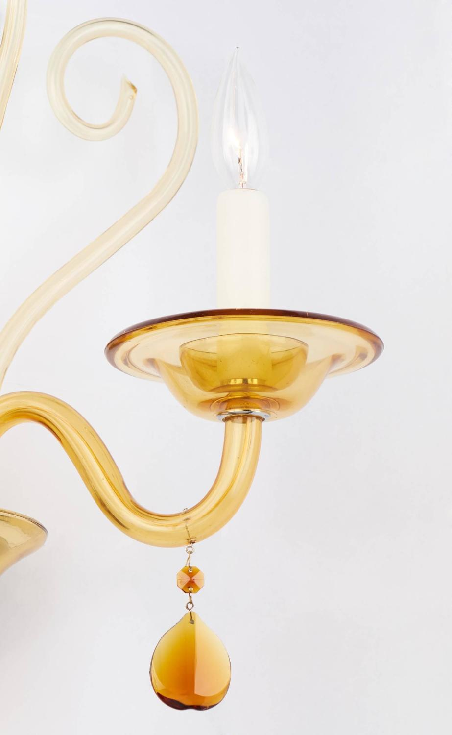 Wall Sconces With Glass : Murano Amber Glass Wall Sconce For Sale at 1stdibs