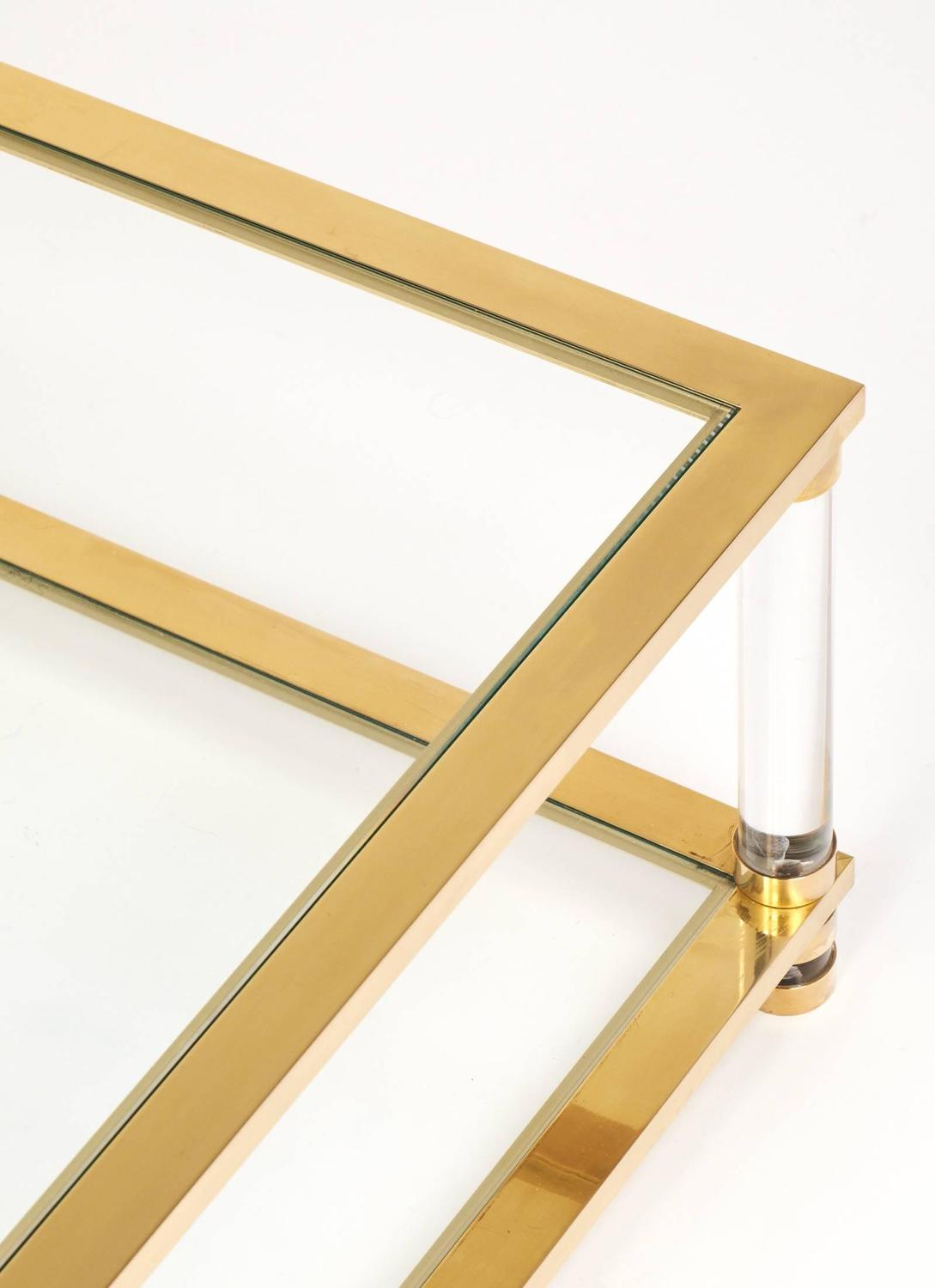 Vintage Brass Glass Lucite Cocktail Table At 1stdibs