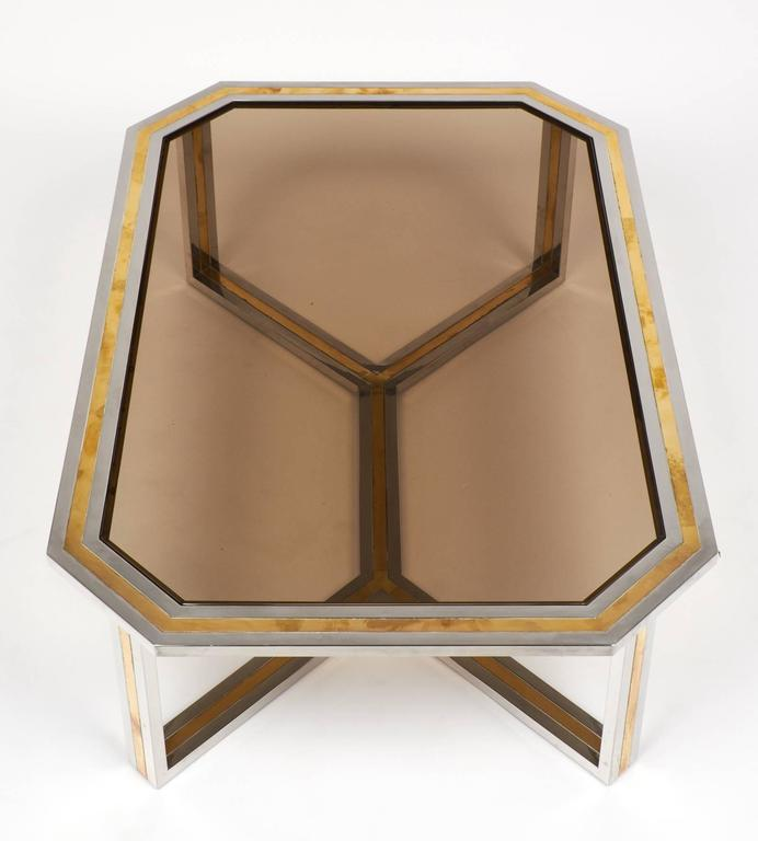 Charles Modern 47 Square Glass Top Coffee Table W: Italian Modernist Brass And Chrome Coffee Table By Romeo