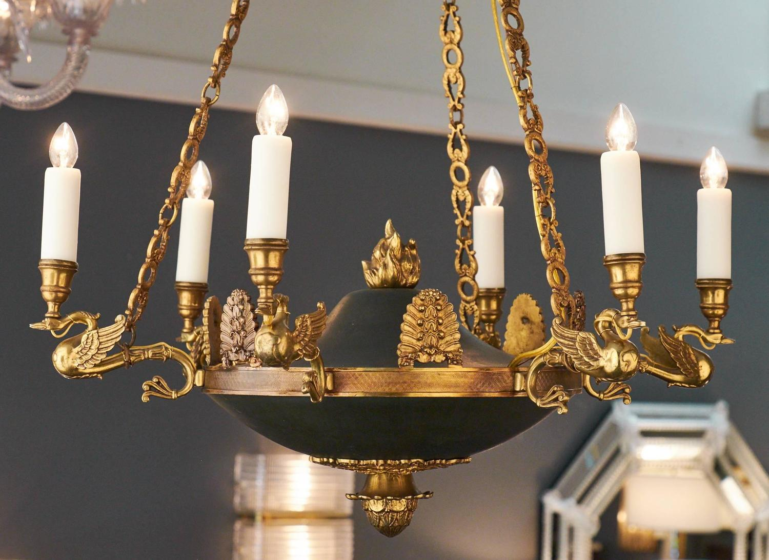 French Empire Style Bronze Chandelier At 1stdibs