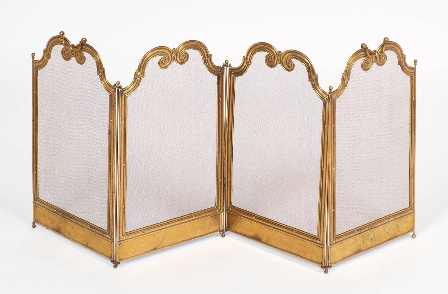 French Antique Solid Brass Firescreen For Sale At 1stdibs