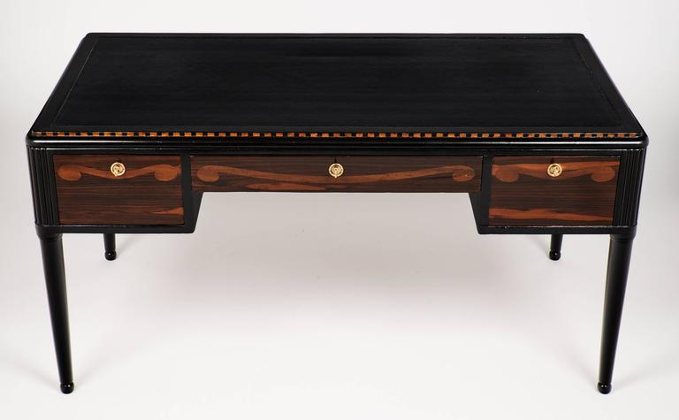 Ebonized French Art Deco Desk in the Manner of André Groult For Sale