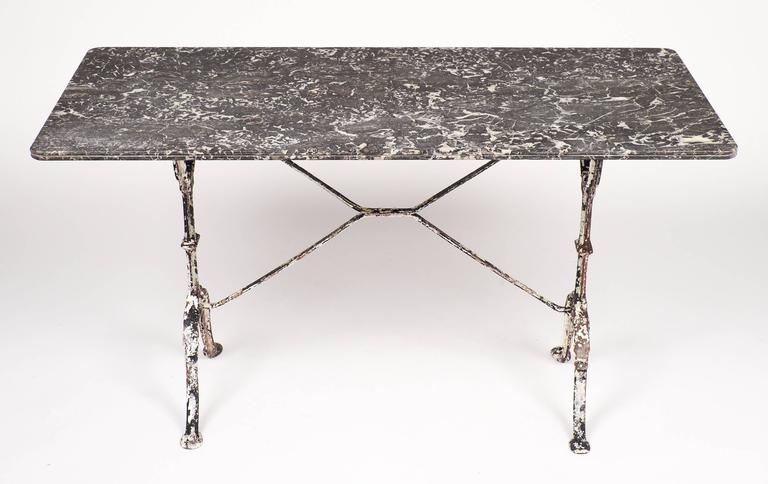 French Antique Marble Top Cast Iron Bistro Table 3