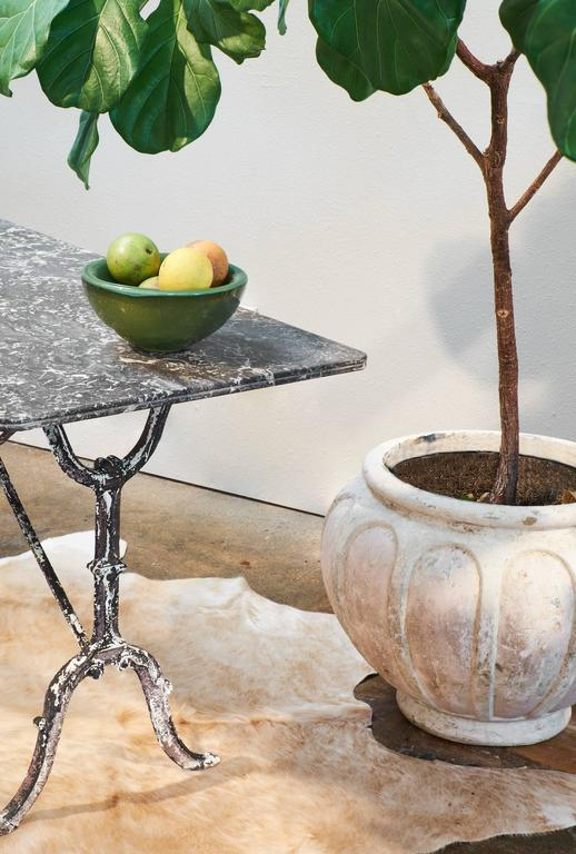French Antique Marble Top Cast Iron Bistro Table 2