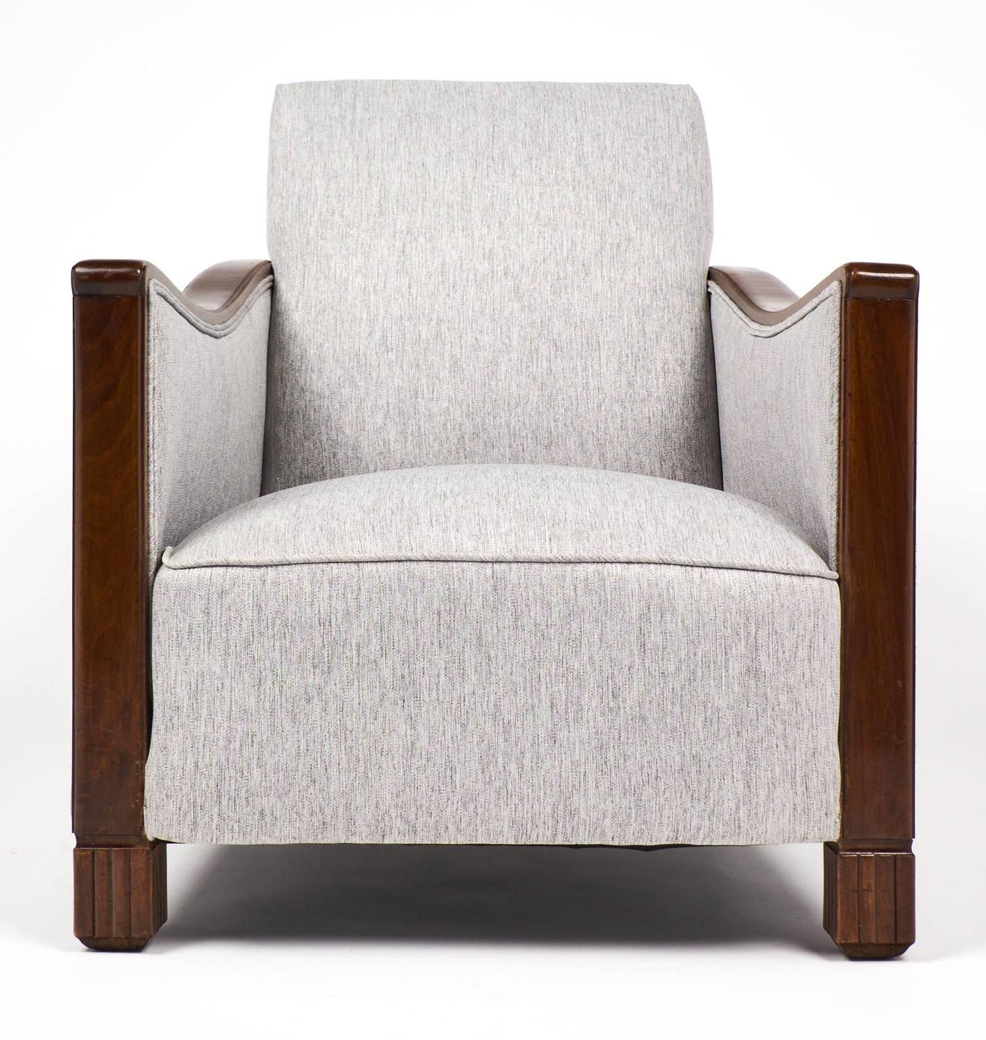 French art deco period walnut armchairs at 1stdibs for Art deco period